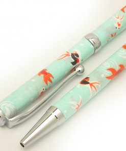 Handmade Ballpoint Pen made in Japan, Mino Washi Japanese paper series, premier quality, Kingyo pattern Blue, details