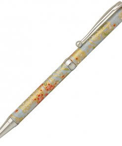 Handmade Ballpoint Pen made in Japan, Mino Washi Japanese paper series, premier quality, Kinpaku pattern blue