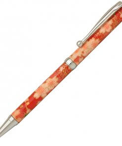 Handmade Ballpoint Pen made in Japan, Mino Washi Japanese paper series, premier quality, Kinpaku pattern red
