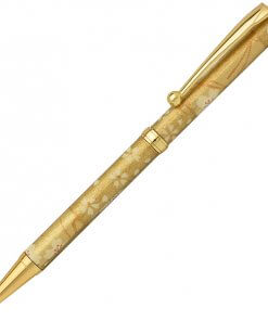 Handmade Ballpoint Pen made in Japan, Mino Washi Japanese paper series, premier quality, Sakura pattern gold
