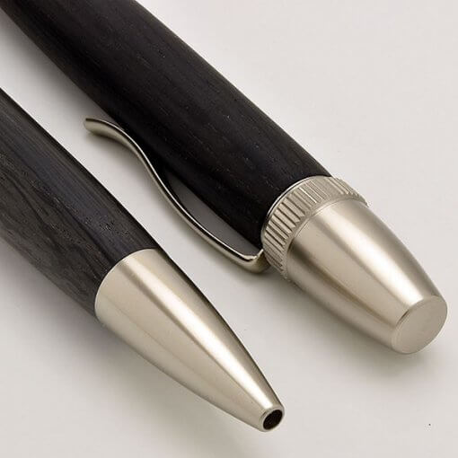 Handmade Ballpoint Pen made in Japan, Precious Wood Series Pen made of Ebony, details