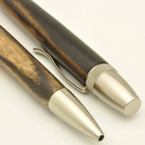 Handmade Ballpoint Pen made in Japan, Precious Wood Series Pen made of black persimmon-wood, details
