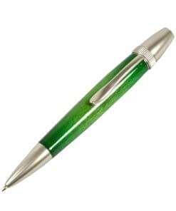 Handmade Ballpoint Pen made in Japan, Sunburst Painted Wood Pen Series, Type-P Candy colors, Curly Maple - Green