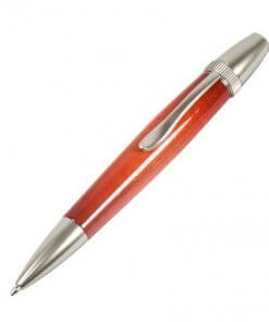 Handmade Ballpoint Pen made in Japan, Sunburst Painted Wood Pen Series, Type-P Candy colors, Curly Maple - Orange