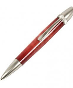Handmade Ballpoint Pen made in Japan, Sunburst Painted Wood Pen Series, Type-P Candy colors, Curly Maple - Red