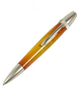 Handmade Ballpoint Pen made in Japan, Sunburst Painted Wood Pen Series, Type-P Candy colors, Curly Maple - Yellow