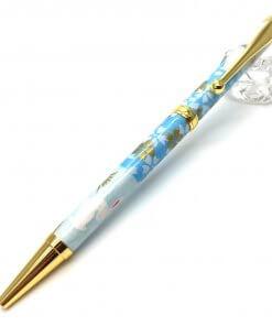 Handmade Ballpoint Pen made in Japan, Mino Washi Japanese paper series, Ichimatsu Blue