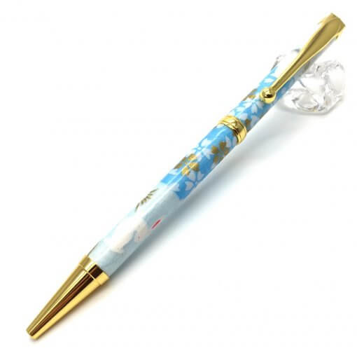 Handmade Ballpoint Pen made in Japan, Mino Washi Japanese paper series, Ichimatsu Blue