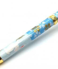 Handmade Ballpoint Pen made in Japan, Mino Washi Japanese paper series, Ichimatsu Blue, details of pen body