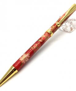 Handmade Ballpoint Pen made in Japan, Mino Washi Japanese paper series, Shidare Red