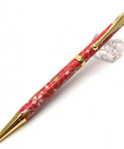 Handmade Ballpoint Pen made in Japan, Mino Washi Japanese paper series, Sakura Red