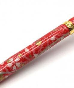 Handmade Ballpoint Pen made in Japan, Mino Washi Japanese paper series, Sakura Red, details of pen body