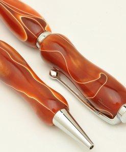Handmade Ballpoint Pen made in Japan, Acrylic Jewel Series, bloody orange, details