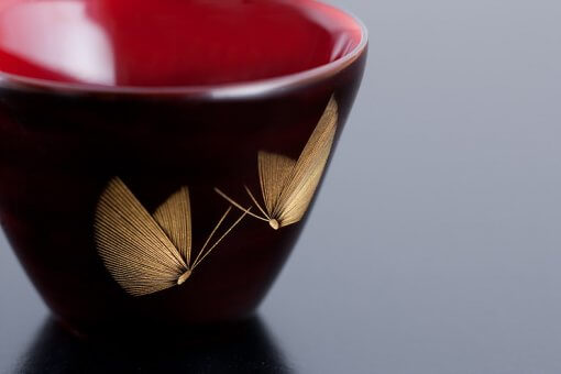 japanese lacquerware for sale, urushi sake cup series, butterflies are drawn black cup