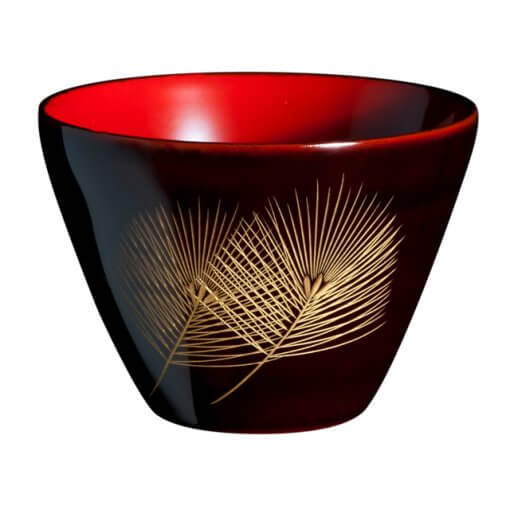japanese lacquerware for sale, urushi sake cup series, pine leaves are drawn black cup