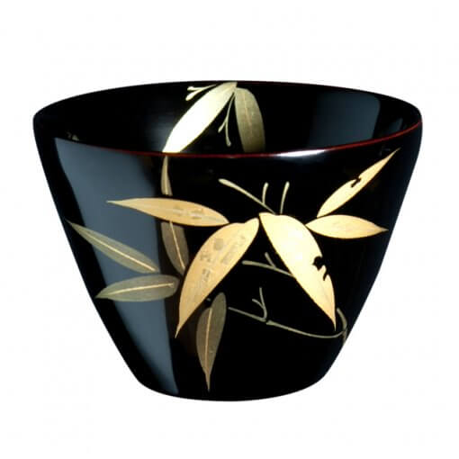 japanese lacquerware for sale, urushi sake cup series, bamboo drawing black cup