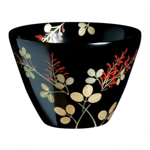 japanese lacquerware for sale, urushi sake cup series, japanese bush clover Hagi drawn black cup