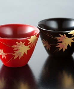 japanese lacquerware for sale, urushi sake cup series, japanese maple leaves drawn pair cups