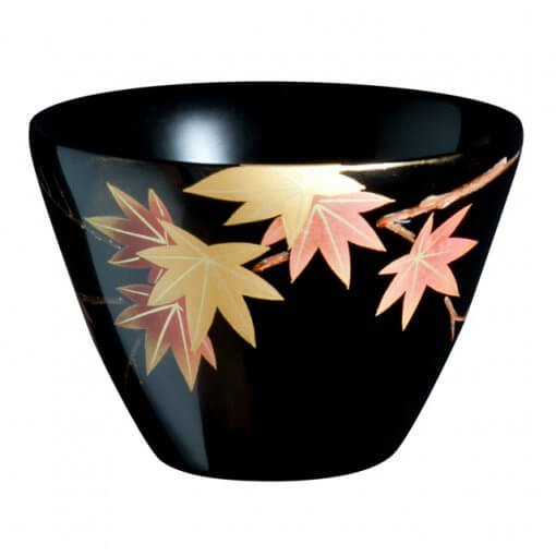 japanese lacquerware for sale, urushi sake cup series, japanese maple leaves drawn black cup