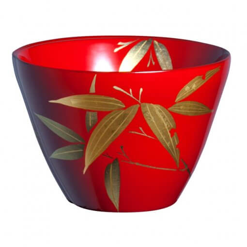 japanese lacquerware for sale, urushi sake cup series, bamboo drawing red cup