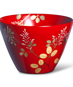japanese lacquerware for sale, urushi sake cup series, japanese bush clover Hagi drawn red cup