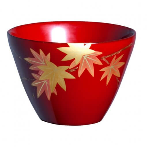 japanese lacquerware for sale, urushi sake cup series, japanese maple leaves drawn red cup