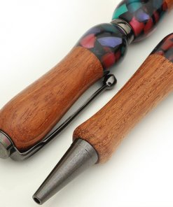 Handmade Ballpoint Pen made in Japan, Acrylic & Wood Series, Black Chinese Quince, details of body