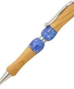 Handmade Ballpoint Pen made in Japan, Acrylic & Wood Series, blue zelkova