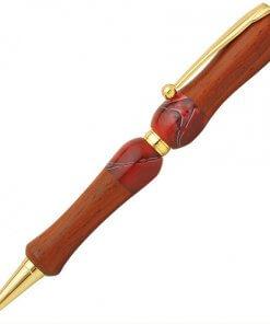 Handmade Ballpoint Pen made in Japan, Acrylic & Wood Series, Padauk