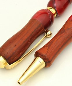 Handmade Ballpoint Pen made in Japan, Acrylic & Wood Series, Padauk, details of body