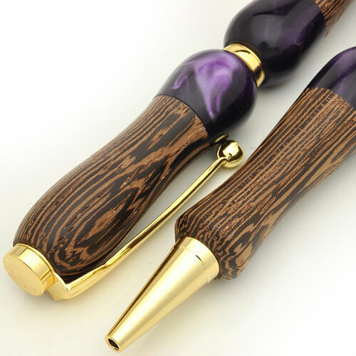 Handmade Ballpoint Pen made in Japan, Acrylic & Wood Series, Wenge, details of body