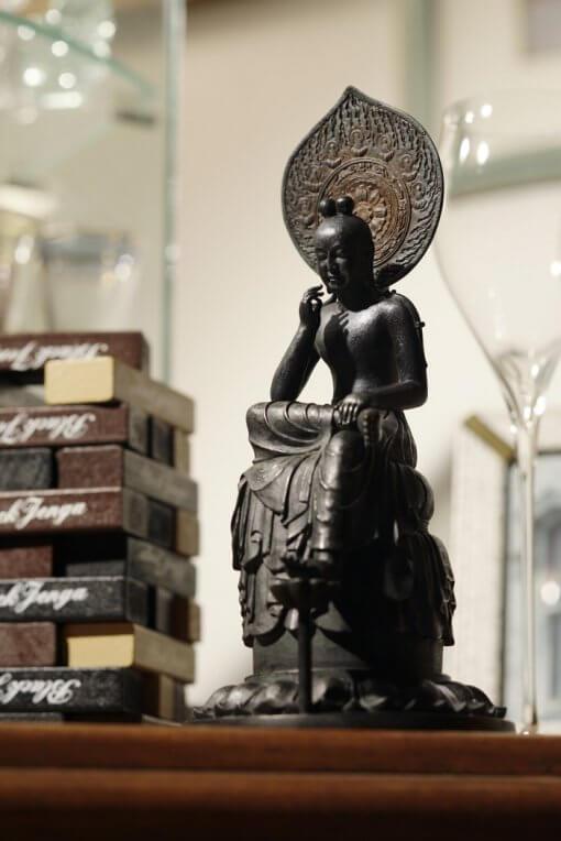 Buddha Statue for sale, Palm-sized Bosatsu Hanka, an example as interior object