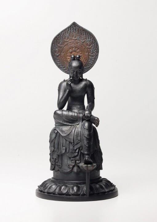 Buddha Statue for sale, Palm-sized Bosatsu Hanka, entire view of the figurine