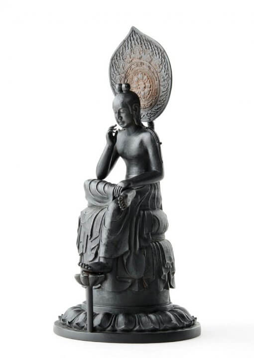 Buddha Statue for sale, Palm-sized Bosatsu Hanka, left front view
