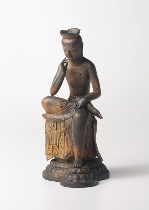 Buddha Statue for sale, Palm-sized Miroku Buddha, entire view of the Buddha figurine
