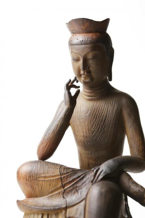 Buddha Statue for sale, Palm-sized Miroku Buddha, zooming up to upper body