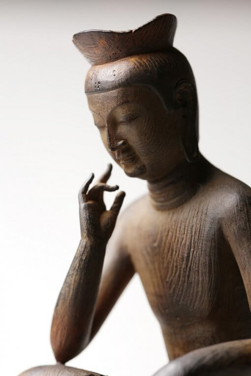 Buddha Statue for sale, Palm-sized Miroku Buddha, zooming up to face and finger gesture