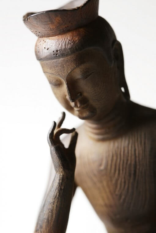 Buddha Statue for sale, Palm-sized Miroku Buddha, upper view of face and hand