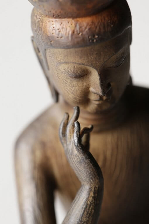 Buddha Statue for sale, Palm-sized Miroku Buddha, zooming up to face