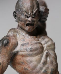 Buddha Statue for sale, palm-sized Kongo Rikishi, zooming up to Agyo face and upper body