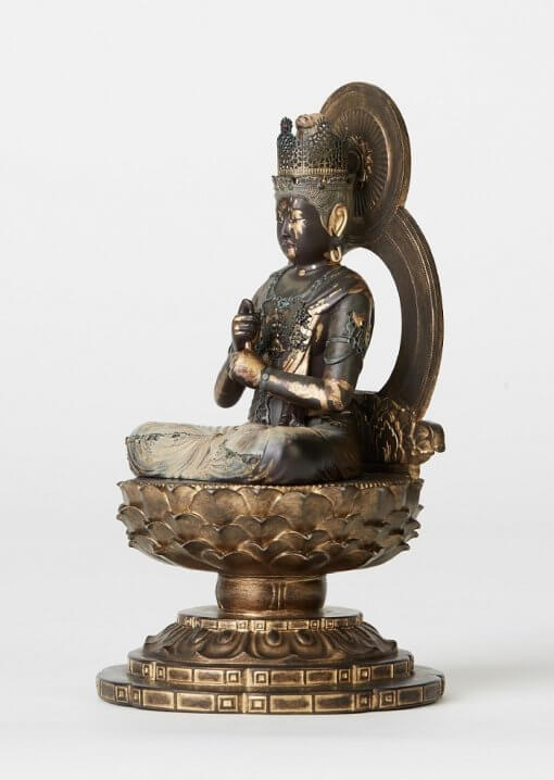 Buddha Statue for sale, Dainichi Nyorai palm-sized, left front view