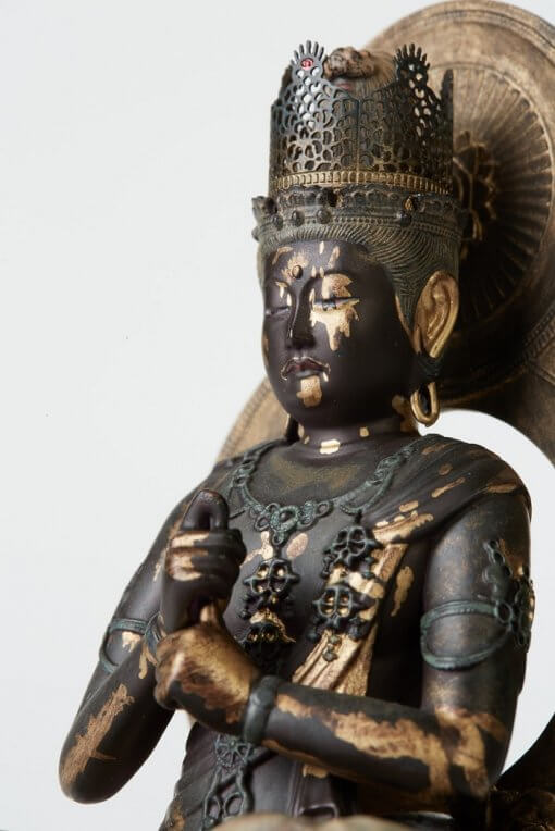 Buddha Statue for sale, Dainichi Nyorai palm-sized, zooming up to face and bust