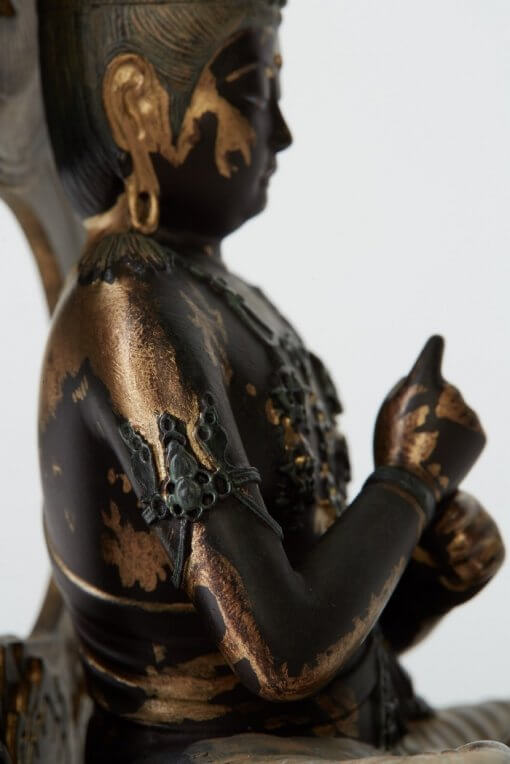 Buddha Statue for sale, Dainichi Nyorai palm-sized, bust and Chiken-in gesture from side view
