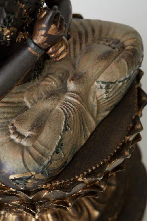 Buddha Statue for sale, Dainichi Nyorai palm-sized, details of legs forf Zen meditation