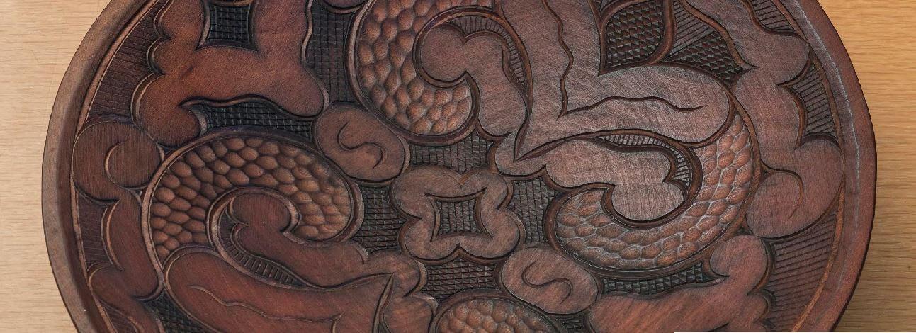 round tray of Japanese crafts Nibutani Ita