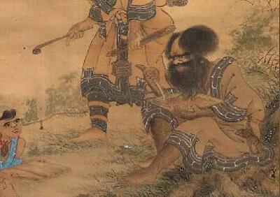 Ainu People carving trees