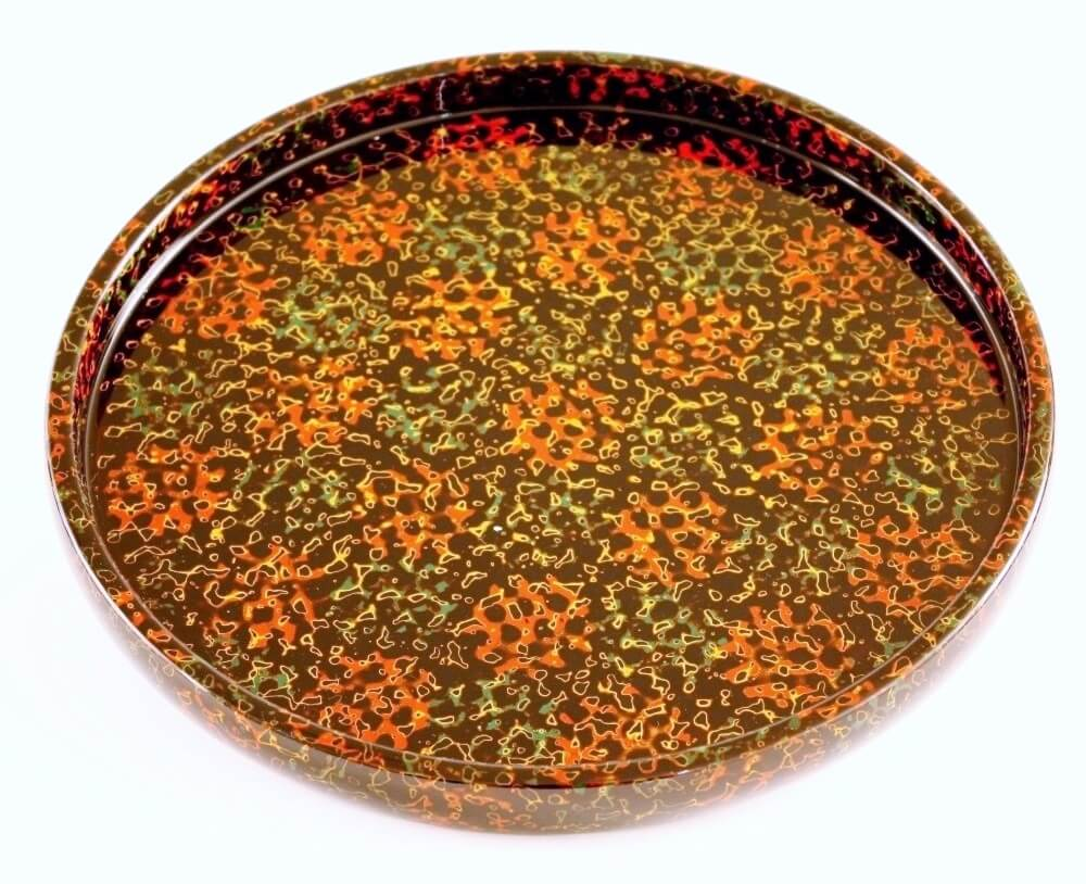 Tsugaru Lacquerware, a traditional Japanese crafts from Aomori, round tray