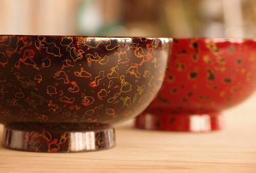 Tsugaru Lacquerware, a traditional Japanese crafts from Aomori, cup bowls black and red