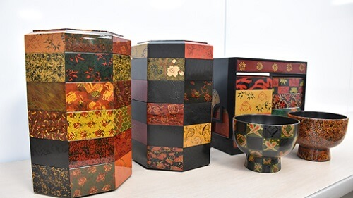 Tsugaru Lacquerware, a traditional Japanese crafts from Aomori, bento lunch box multi layer