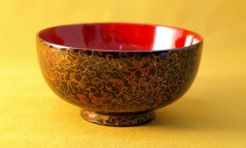 Tsugaru Lacquerware, a traditional Japanese crafts from Aomori, beautiful soup bowl tang coating